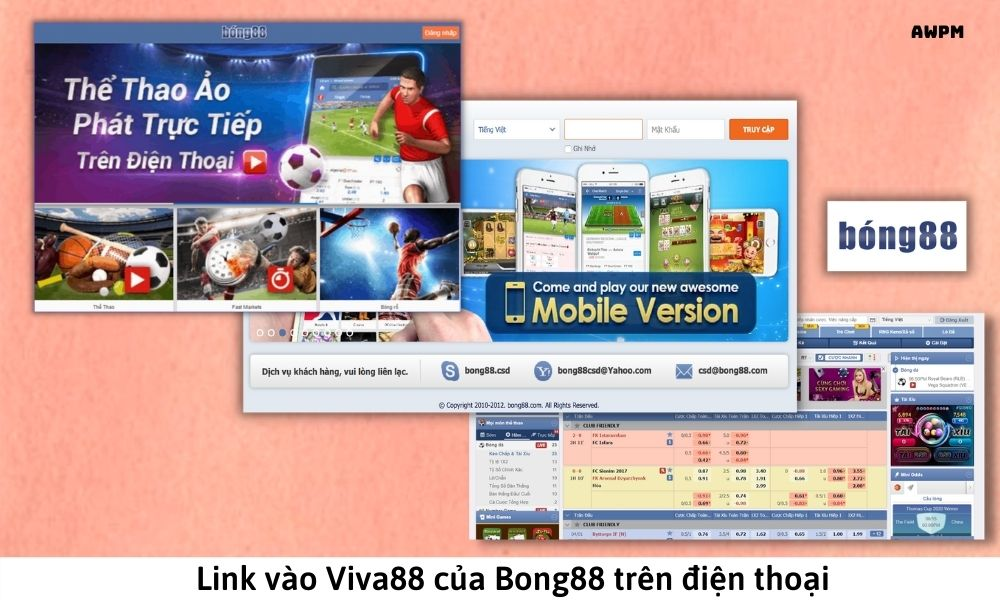 Link vào Viva88 của Bong88 trên điện thoại