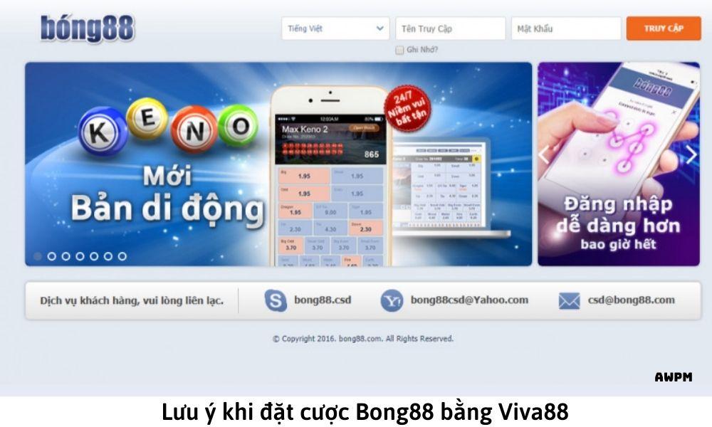 Lưu ý khi đặt cược Bong88 bằng Viva88